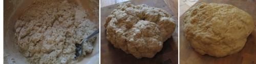 (left to right): Water is added to the seitan, then comes together into a ball immediately; the seitan after kneading for five minutes
