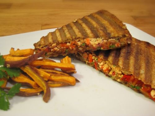 Tofu Spread Sandwich with Vegetables; Sweet Potato Fries
