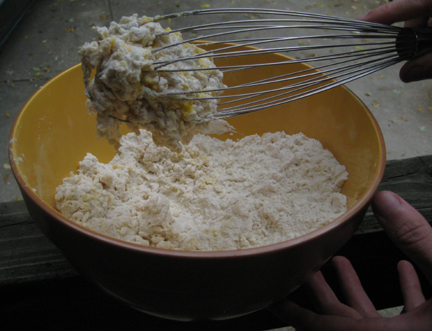 This is what the mixture looks like after adding the eggs to the flour.  Then add enough milk to form a batter that can be poured into the waffle maker.