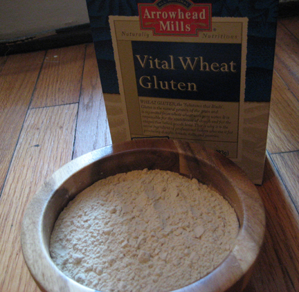 Wheat gluten, found in the flour section at Whole Foods