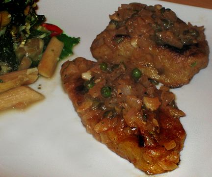 Seitan Piccata with a side of pasta and vegetables