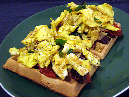 Waffle, Bacon, Egg, Cheese, and Maple Syrup Sandwich (see below for ...