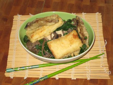 Tempura with Soba Noodles and Hot Dashi Broth