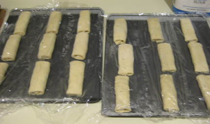 Pain au chocolat.rolled and rising