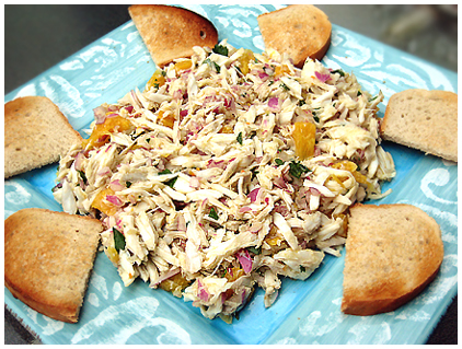 Rachael Ray's crab salad with orange and oregano on grilled sourdough
