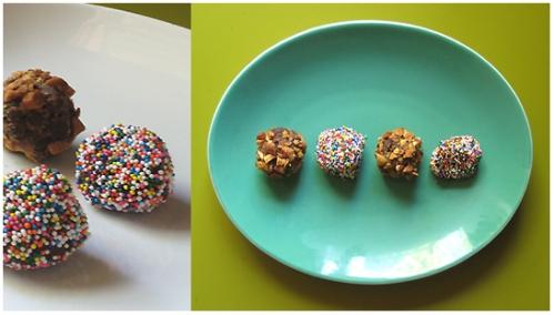 Chocolate Truffles, Roasted Almonds, Rainbow Sprinkles