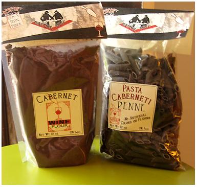 Marche Noir's wine flour and wine pasta products
