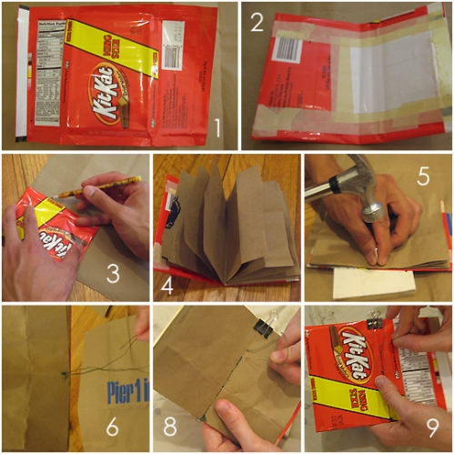 How to make a notebook with old food labels and paper