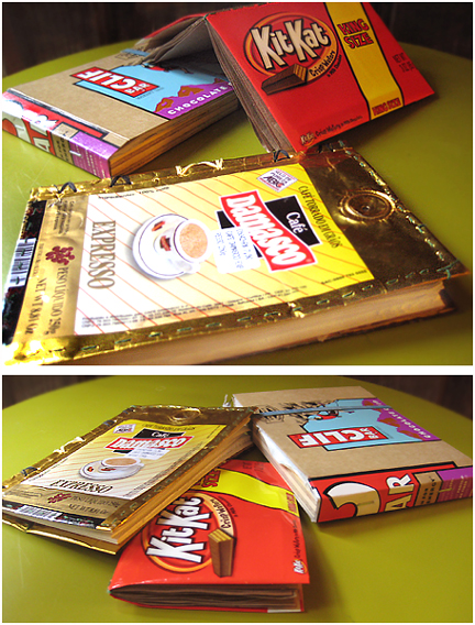 Notebooks made with recycled paper and food labels