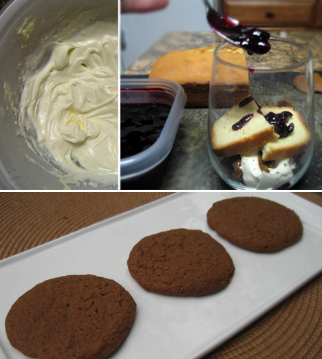 Homemade whipped cream, gingersnaps, layering the trifle