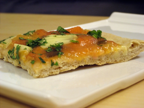 Peach Chutney Pizza with Cheddar and Cilantro