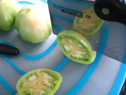Cutting green tomatoes