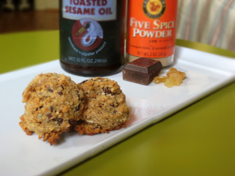 Oatmeal cookies with candied ginger, chocolate, five spice powder, and sesame oil