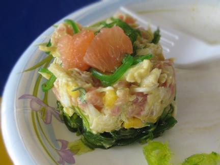 Langermann's Tuna and Crab Tartar with Avocado Dressing, Seaweed, Mango, Cilantro, and Grapefruit