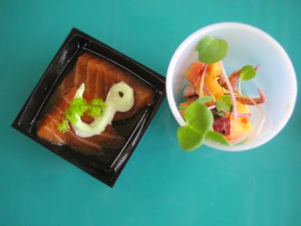 RA Sushi Bar Restaurant's Salmon Carpaccio; Abacrombie's calamari dish