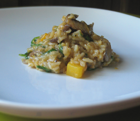 Butternut squash, mushroom, and arugula risotto