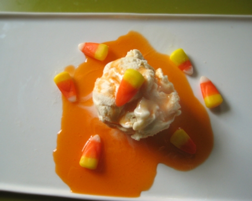 candy corn sauce on ice cream