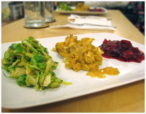 Thanksgiving Dinner: cornbread dressing, Brussels sprouts, orange cranberry sauce