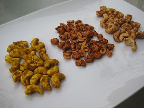 Curried Cashews, Chili Lime Peanuts, Five-Spiced Peanuts