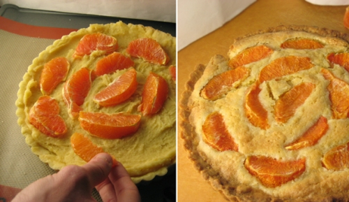 Orange-Almond Tart, Before and After