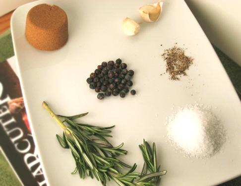 Brine ingredients, pork chops