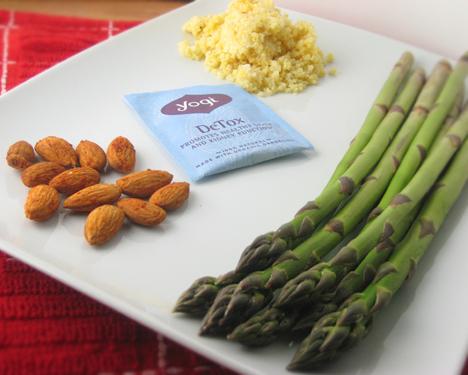 Almonds, asparagus, yogi detox tea, and millet