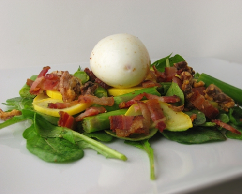 Egg, bacon, and vegetable salad