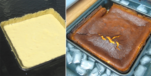 Torteau de chevre, goat cheese cake - before and after baking
