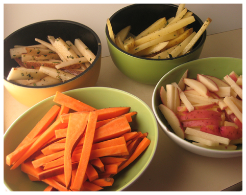 Russet, Yukon Gold, Red, and Sweet Potato fries