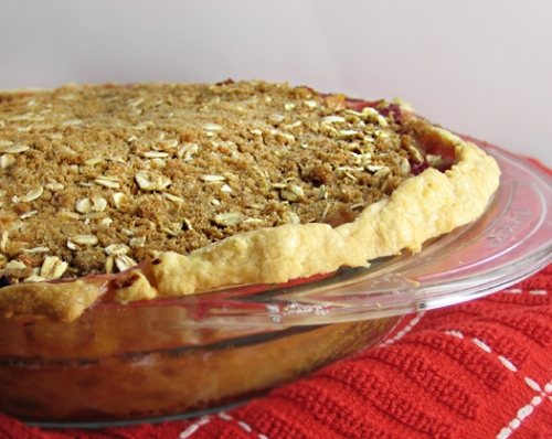 Pluot Crumble Pie