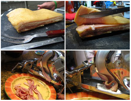 Making homemade bacon