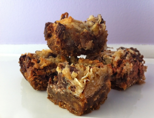 Chewy coconut chocolate chip bars with a graham cracker crust 2