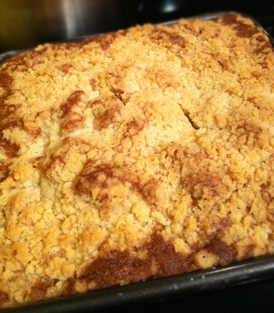 Coffee cake fresh from the oven
