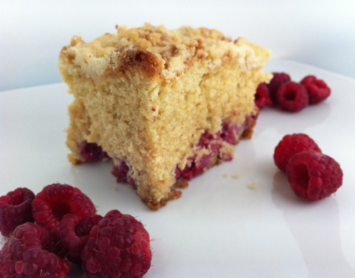 Raspberry and lemon coffee cake with lemon crumb topping