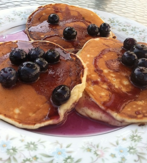 Pancakes with blueberry maple syrup