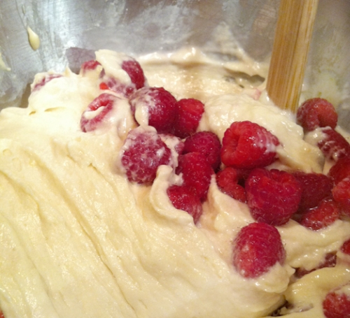 Raspberries and coffee cake batter